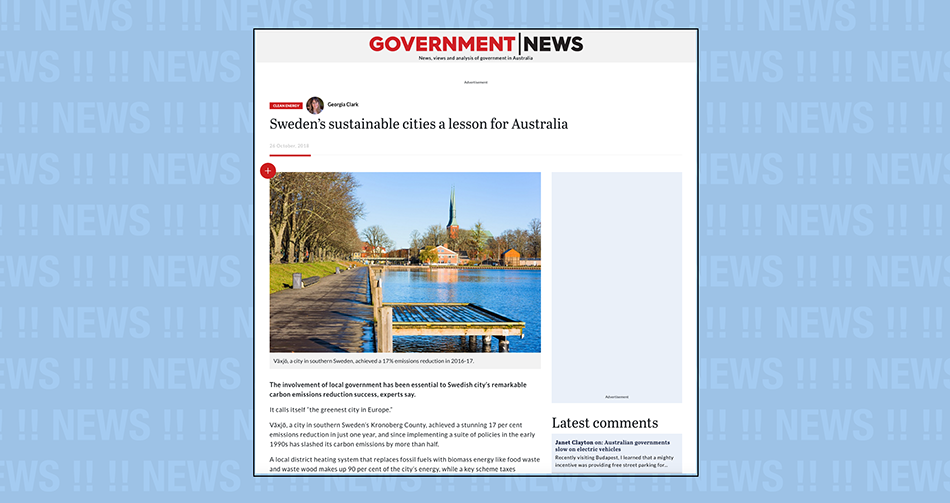 Artikeln: Sweden's sustainable cities a lesson for Australia, i Government News